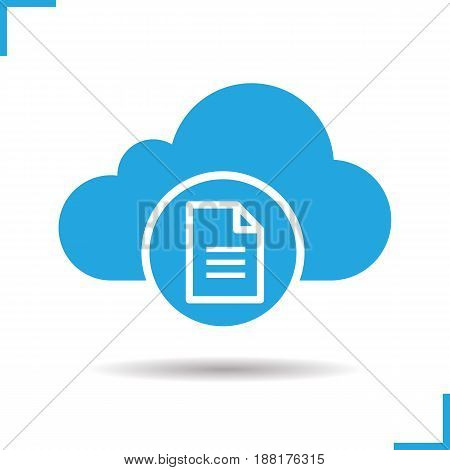 Cloud storage text document icon. Drop shadow silhouette symbol. Cloud computing. Negative space. Vector isolated illustration