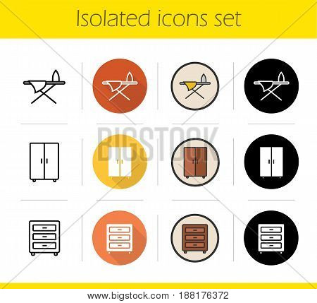 Furniture icons set. Flat design, linear, black and color styles. Dresser, wardrobe and ironing board. Isolated vector illustrations