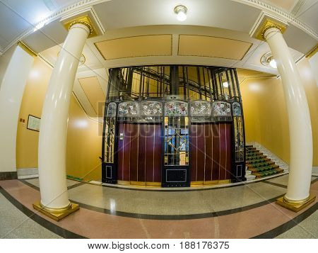 MOSCOW RUSSIA - APRIL 27 2017: Vintage elevator in Metropol hotel in Moscow Russia on April 27 2017. Hotel was built in 1899-1907 in Art Nouveau style.