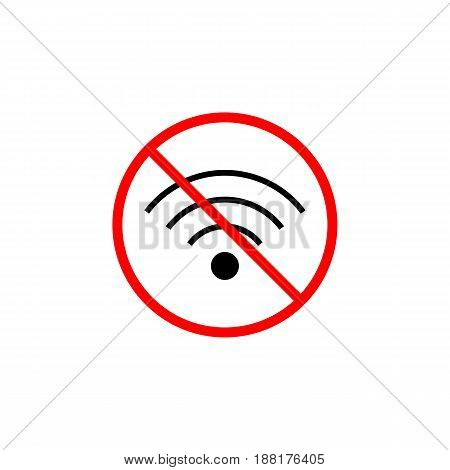 No Wifi line icon, prohibition sign, forbidden wireless network, vector graphics, a linear pattern red on a white background, eps 10.
