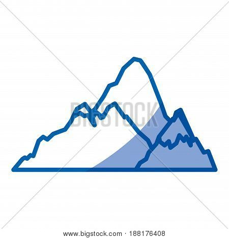 blue shading silhouette of hill with peak snowy vector illustration
