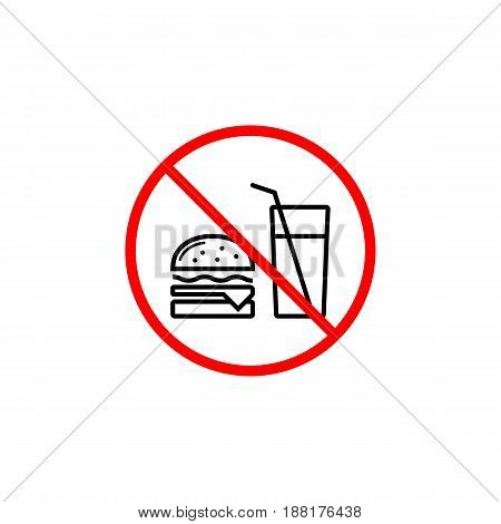 No food allowed line icon, prohibition sign, forbidden no eat, vector graphics, a linear pattern red on a white background, eps 10.
