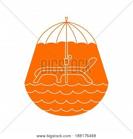 Vector chaise lounge under umbrella by sea. Line art design. Orange rest logo