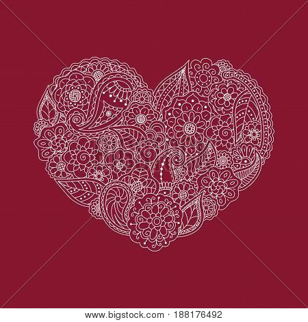 Vector illustration of white heart of floral doodle elements on burgundy background. Invitation greeting card for Valentine day wedding. Symbol of love