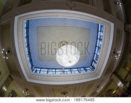 MOSCOW RUSSIA - APRIL 27 2017: Lobby ceiling design interior in Metropol hotel in Moscow Russia on April 27 2017. Hotel was built in 1899-1907 in Art Nouveau style.
