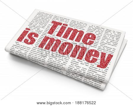 Time concept: Pixelated red text Time Is money on Newspaper background, 3D rendering