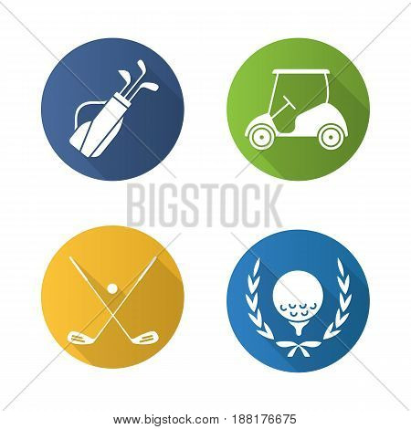 Golf championship flat design long shadow icons set. Ball in laurel wreath, crossed clubs, cart and bag. Vector silhouette illustration