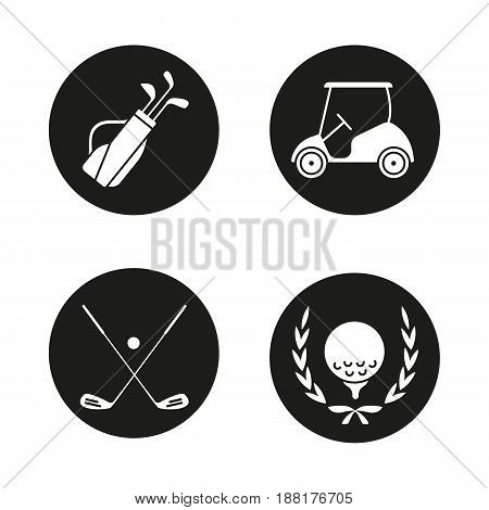 Golf championship icons set. Ball in laurel wreath, crossed clubs, cart and bag. Vector white silhouettes illustrations in black circles