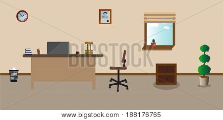 Working place in the office on the light pink background. Vector illustration. Table, clock, chair. plant. cactus. Perfect for advertising, brand sites and magazines