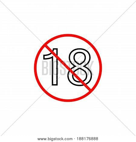 Under eighteen line icon, Adults only content prohibition sign, forbidden No 18 years old, vector graphics, a linear pattern red on a white background, eps 10.