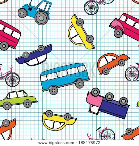 Funny cute hand drawn kids toy transport. Baby cartoon tractor, bus, truck, car vector seamless pattern on white background.