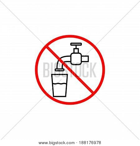 Do not drink water line icon, prohibition sign, forbidden not drinkable, vector graphics, a linear pattern red on a white background, eps 10.