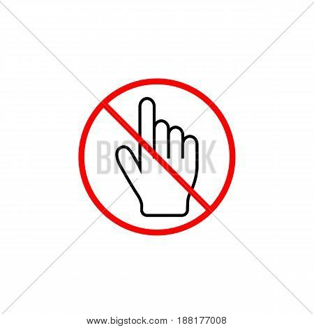 No hand cursor line icon, prohibition sign, forbidden don't touch, vector graphics, a linear pattern red on a white background, eps 10.