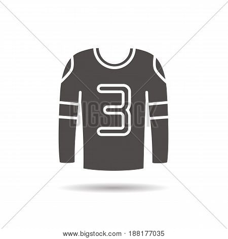 Hockey player's shirt glyph icon. Drop shadow silhouette symbol. Negative space. Vector isolated illustration