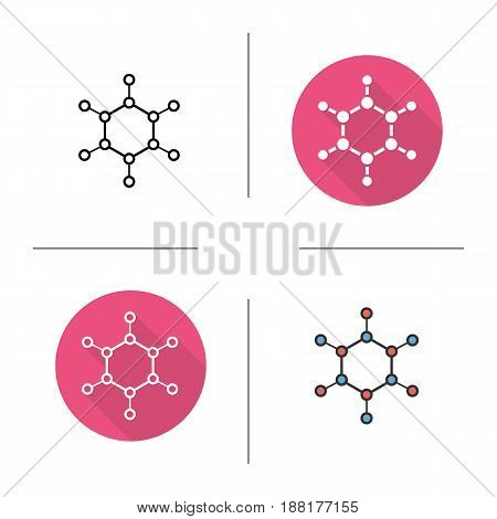 Molecule icon. Flat design, linear and color styles. Molecular structure model. Isolated vector illustrations