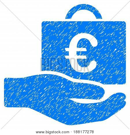 Grunge Euro Accounting Service icon with grunge design and dust texture. Unclean vector blue pictogram for rubber seal stamp imitations and watermarks. Draft sign symbol.