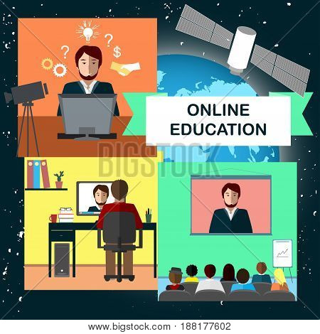 Online education concept with internet conference and satellite in cosmos