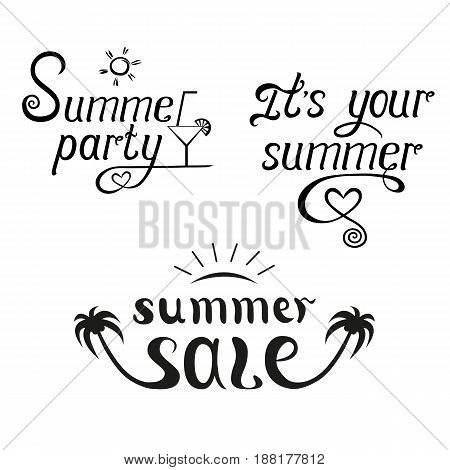 Summer sale and party lettering set. Invitation flyer poster or banner design. Vector illustration on white background.