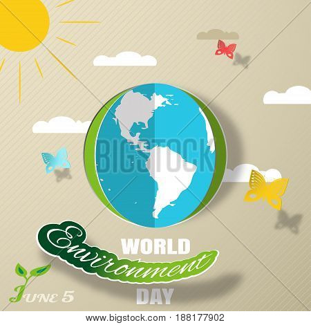 Vector greeting paper craft of World Environment Day on the gradient brown background with blue globe cutout from paper sun clouds shadow butterflies and text.