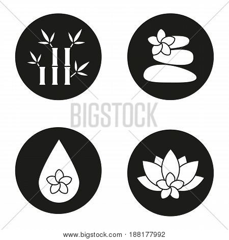 Spa salon icons set. Aromatherapy. Stones massage, aroma oil drop, spa flowers and bamboo with leaves. Vector white silhouettes illustrations in black circles
