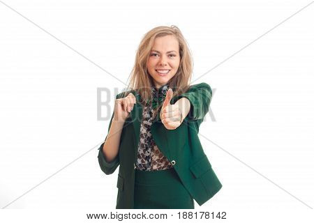 Smart smiling young bolndinka extends a hand forward and shows gesture class close-up isolated on white background