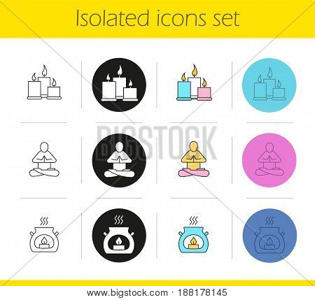 Spa salon icons set. Linear, black and color styles. Aromatherapy candles, yoga class. Isolated vector illustrations
