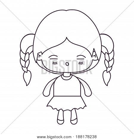 monochrome silhouette of kawaii little girl with braided hair and facial expression tired vector illustration