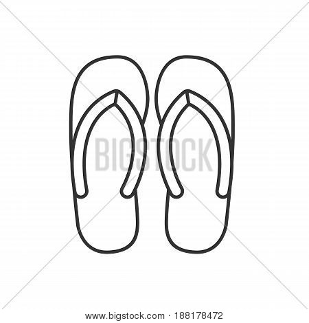 Flip flops linear icon. Thin line illustration. Summer slippers contour symbol. Vector isolated outline drawing