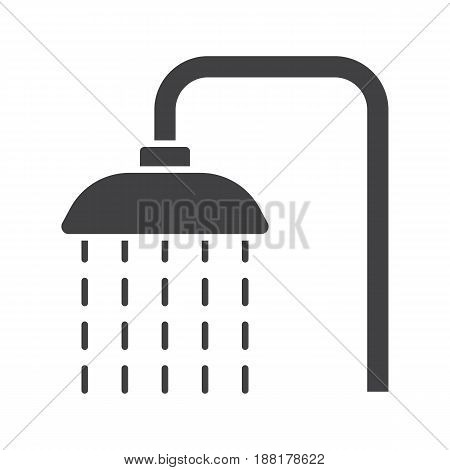 Shower glyph icon. Silhouette symbol. Shower faucet with flowing water. Negative space. Vector isolated illustration