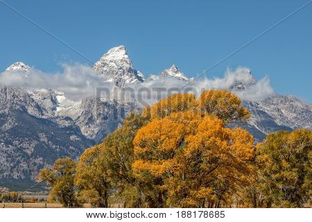 a scenic landscape of the Tetons in Wyoming in autumn