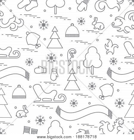 Seamless Pattern With Variety Winter Elements:  Sleigh, Tree, Scarf, Hat, Mittens, Socks And Other.