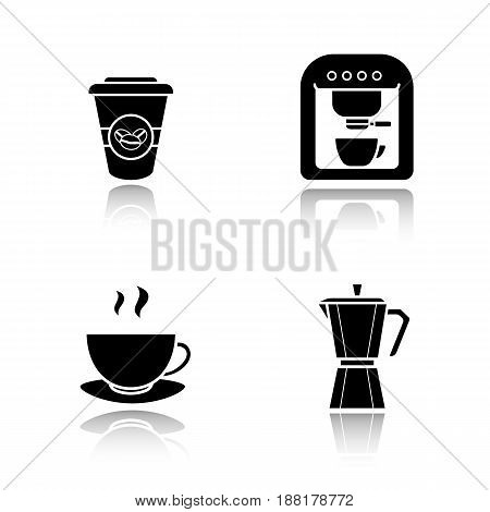 Coffee drop shadow black icons set. Modern and classic coffee makers, disposable and steaming cups. Isolated vector illustrations
