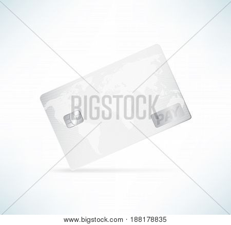 Credit card in detailed realistic style. White color template vector illustration.