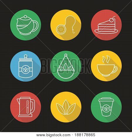 Tea flat linear long shadow icons set. Teapot and ball infuser, chocolate cake on plate, tea container, steaming cup, electric kettle, takeaway paper cup. Vector line illustration