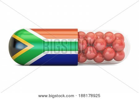 Pill capsule with South Africa flag 3D rendering isolated on white background