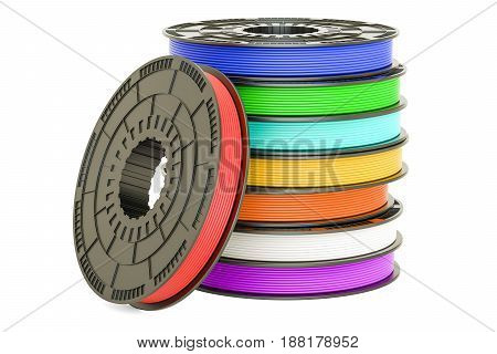 Set of colored 3D printer filaments 3D illustration isolated on white background
