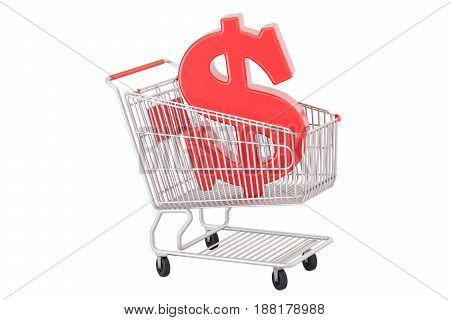 Shopping cart with dollar symbol 3D rendering isolated on white background