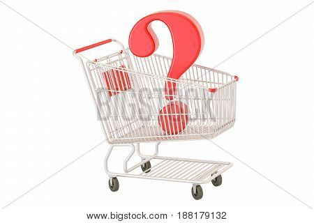 Shopping cart with question mark 3D rendering