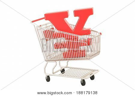 Shopping cart with yen or yuan symbol 3D rendering isolated on white background