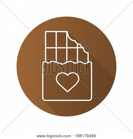 Chocolate bar flat linear long shadow icon. Bitten chocolate bar with heart shape. Vector line symbol