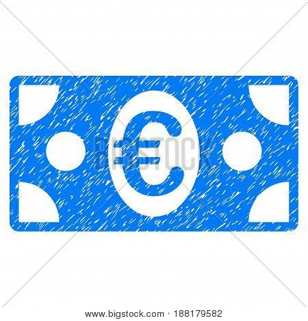 Grunge Euro Banknote icon with grunge design and scratched texture. Unclean vector blue pictogram for rubber seal stamp imitations and watermarks. Draft sign symbol.