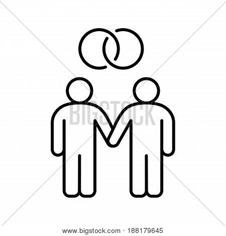 Gay marriage linear icon. Homosexual couple thin line illustration. Two men holding hands contour symbol. Vector isolated outline drawing