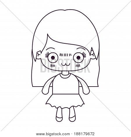 monochrome silhouette of kawaii cute little girl with straight hair and facial expression depressed vector illustration