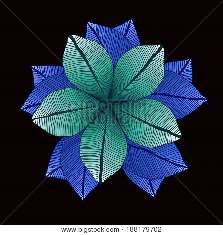 Floral pattern. Vector round drawing with blue leaves. Foliage