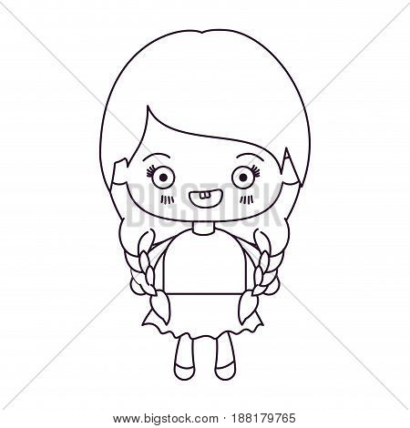 monochrome silhouette of kawaii cute little girl with braided hair and smiling vector illustration