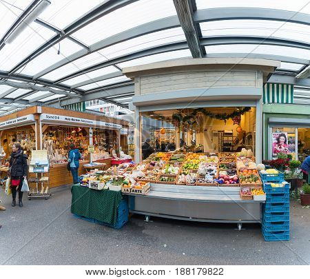 DUESSELDORF, GERMANY - JANUARY 05, 2017: Hirh resolution, hyperrealistic view on the stationary market on the Carlsplatz near the famous Altstadt.