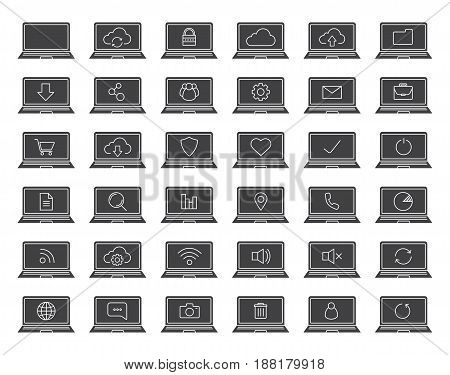 Laptops glyph icons set. Silhouette symbols. Laptops with wifi connection, cloud computing, users, protection, document, folder, settings. Vector isolated illustration