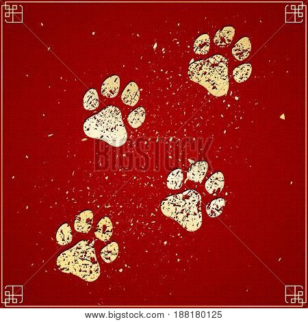 Year of the dog. Golden traces in grunge style on a red background with a pattern. Chinese New Year. Cover for the project. Gold dust. Vector illustration