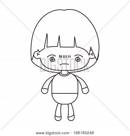 monochrome silhouette of kawaii little boy with facial expression bored vector illustration