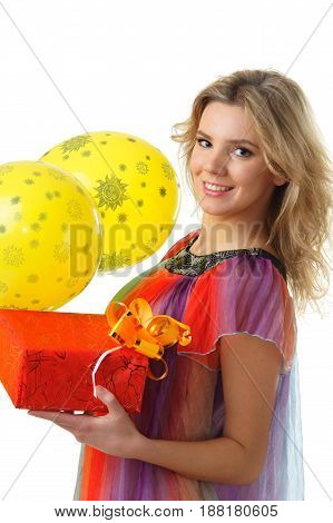 beautiful girl with yellow balloons and present in red box isolated on white background